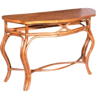 Italian Rattan Console Table For Sale