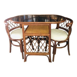 Vintage Boho Chic Bamboo/Rattan Dining Set - 3 Pieces For Sale