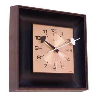 Vintage Robert Shaw Lux Faux-Wood, Brass, and Metal Wall Clock For Sale