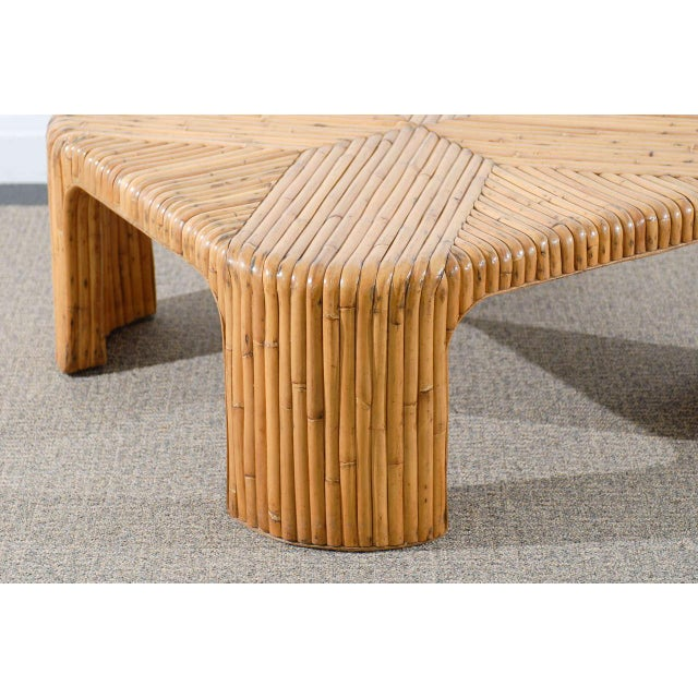 Lovely Vintage Bamboo Coffee Table With Waterfall Corners Image 5 Of 9