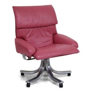 "Giovanni Offredi for Saporiti Italia Pink Leather ""Onda"" Executive Office Chair Preview"