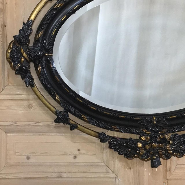 French Antique French 19th Century Louis XVI Oval Mirror For Sale - Image 3 of 11