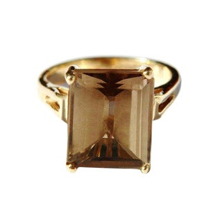 14k Gold Smokey Topaz Ring For Sale