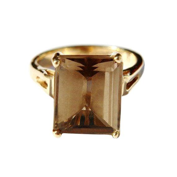 14k Gold Smokey Topaz Ring For Sale
