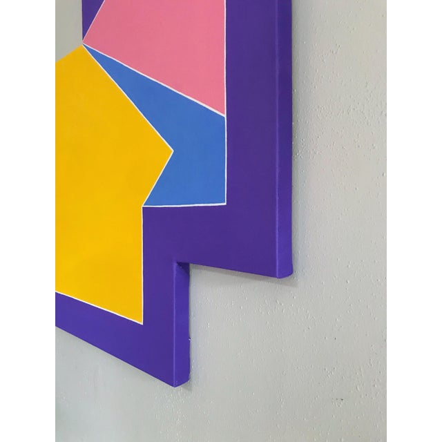 Colorful Original Post Modern Shaped Canvas Large Scale Hard Edge Abstract Painting For Sale - Image 4 of 9