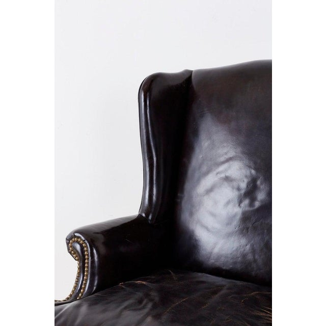 English Georgian Style Black Leather Wingback Armchair For Sale - Image 4 of 13