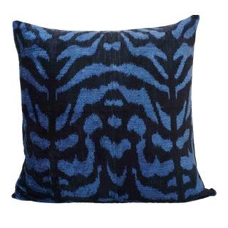 Hand Loomed Navy Blue Animale Silk Velvet Euro Pillow For Sale
