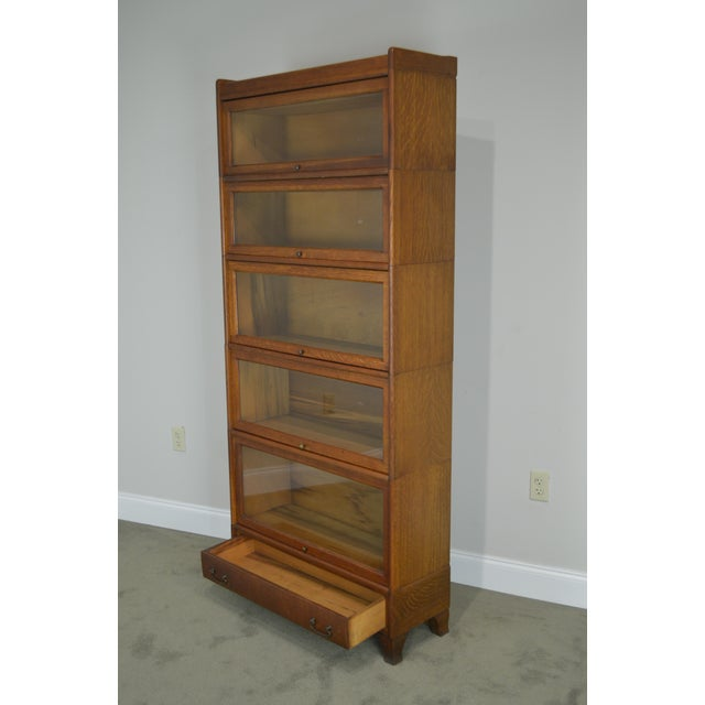 Brown Antique Oak 5 Section Stacking Barrister Bookcase With Drawer by Weis For Sale - Image 8 of 13