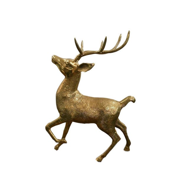 With a height of almost two feet, this vintage brass elk is perfect for filling a large-scale space. Great detail.