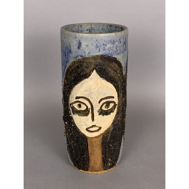 Mid-Century Face Vase, Signed Studio Pottery For Sale - Image 11 of 11
