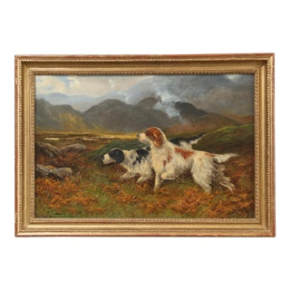 Antique Sporting Dogs Oil Painting, Robert Cleminson (Active 1864-1903) For Sale