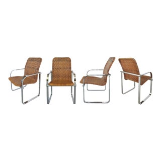MCM Armchairs of Woven Reed & Stainless Steel by Stendig-Set of 4