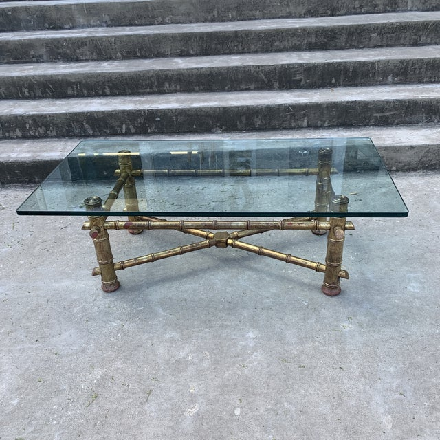 Italian 1970s Italian Gilt Faux Bamboo Glass Top Coffee Table For Sale - Image 3 of 13