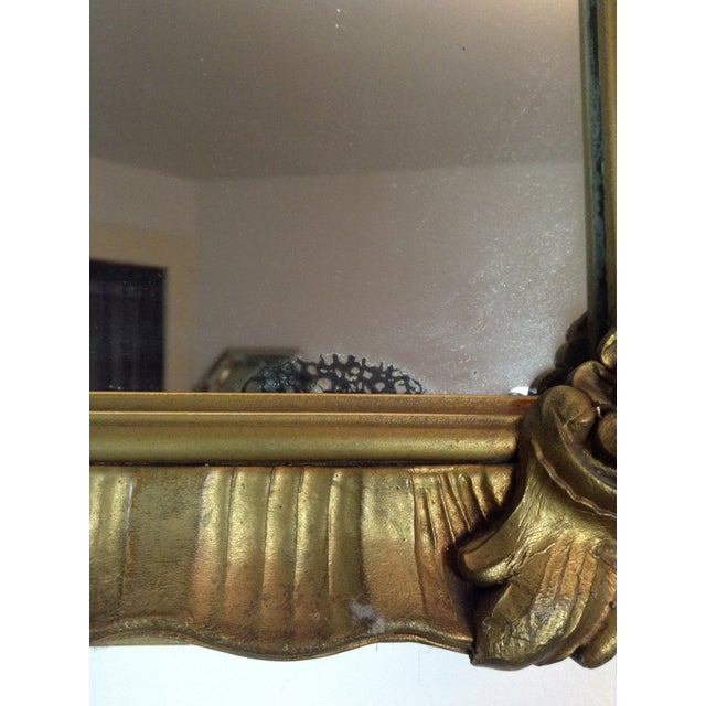 Antique Gilded Crested Wooden Wall Mirror - Image 7 of 8
