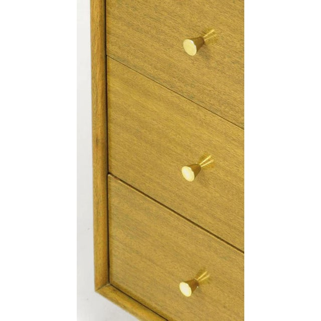 Metal Harvey Probber Bleached Mahogany & Ivory Leather Tall Cabinet For Sale - Image 7 of 12