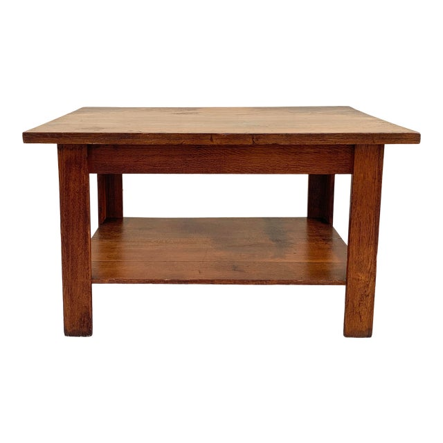 Antique American Craftsman Library/ Work Table, Solid Oak For Sale