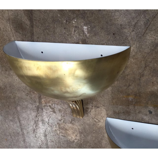 1960s Italian Half Moon in Brass Wall Lights - a Pair For Sale - Image 4 of 9