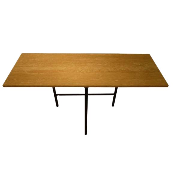 Myers Travertine Top Bronze Console For Sale