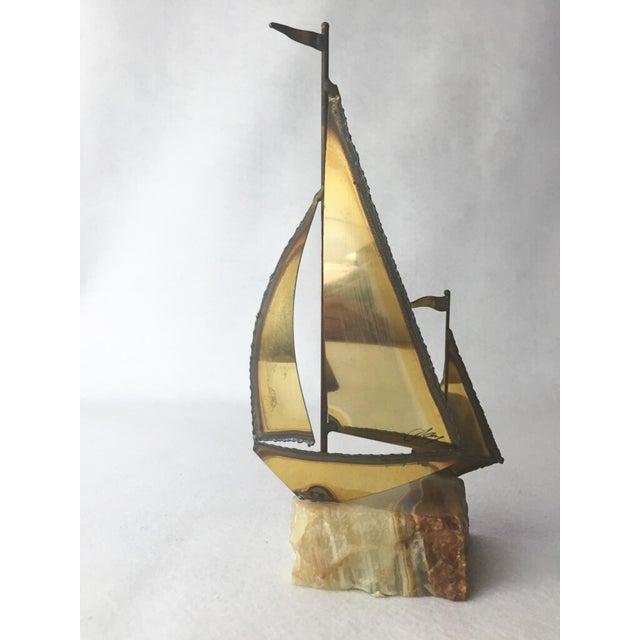 1970s Mario Jason Originals Brass Sailboat For Sale - Image 5 of 8