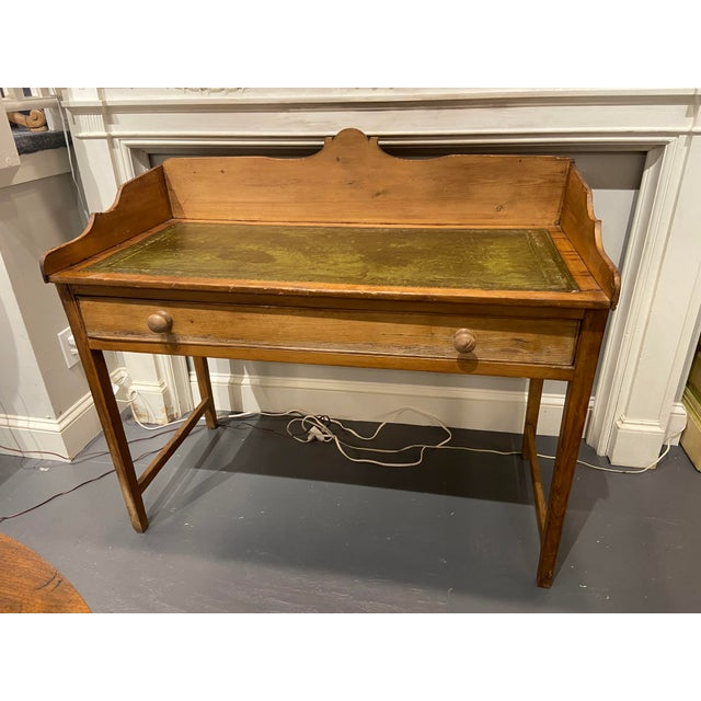 Traditional Antique Pine Writing Desk With Leather Top For Sale - Image 3 of 9