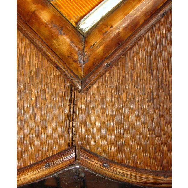 Wood 19th Century Art Nouveau Bamboo Woven Back Hall Tree With Beveled Shield Mirror and Nouveau Lamajolique - Societe Anonyme Tile For Sale - Image 7 of 9