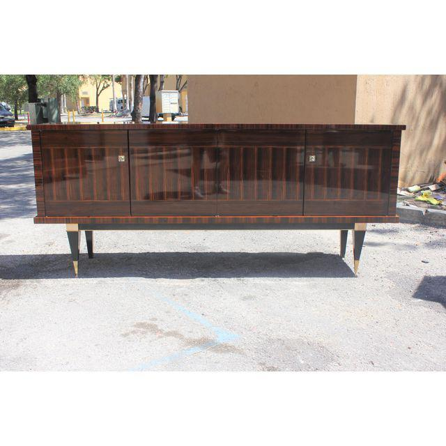Classic French Art Deco Macassar Ebony Sideboard / Credenza / Buffet Circa 1940s For Sale - Image 10 of 13