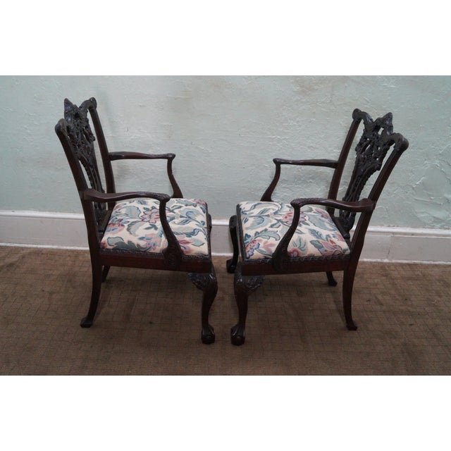 Honduras Mahogany Carved Dining Chairs - Set of 8 - Image 6 of 10