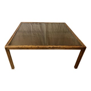 1970s French Faux Bois and Cane Coffee Table Mid Century Modern For Sale
