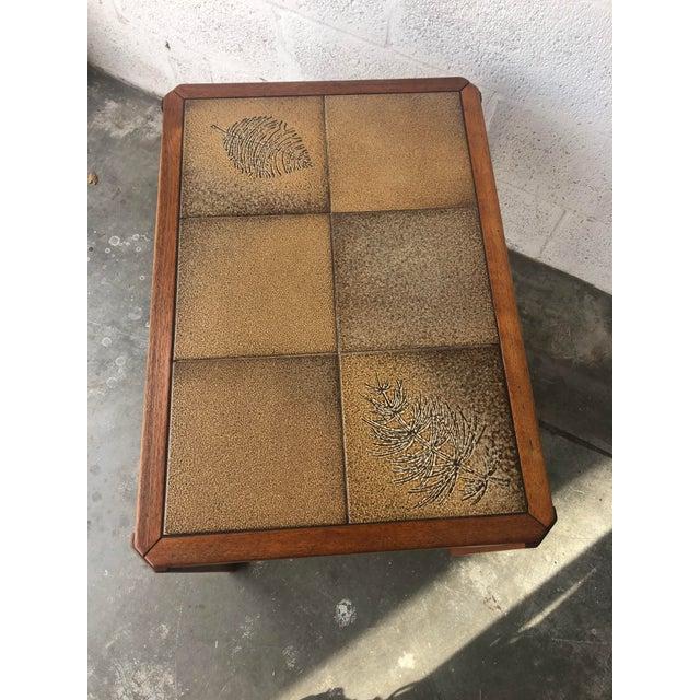 Uldum Møbelfabrik Vintage Mid Century Danish Modern Tile Top Side Table by Uldum Moblerfabrik Denmark For Sale - Image 4 of 13