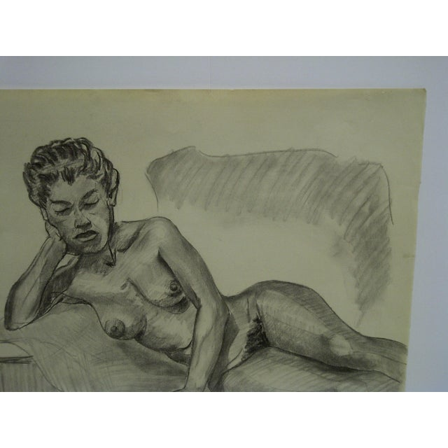 "Mid-Century Modern 1956 Mid-Century Modern Original Drawing on Paper, ""Laying Sideways Nude"" by Tom Sturges Jr. For Sale - Image 3 of 5"