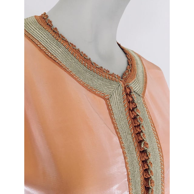 Metal Moroccan Vintage Caftan 1970s Kaftan Maxi Dress Orange With Floral Embroideries For Sale - Image 7 of 12