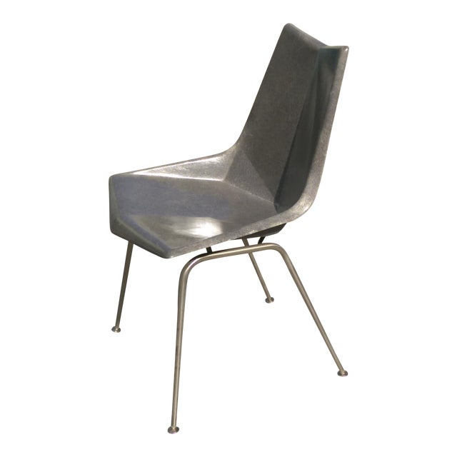 Vintage Paul McCobb Grey Origami Shell Chair For Sale