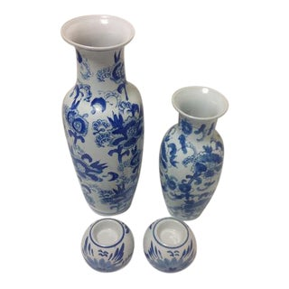 Chinoiserie Blue & White Vase Collection - 4 Pc. For Sale