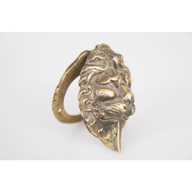 "Superb early English traditional petite solid brass lion door knocker, circa 1930. Signed ""England"" on reverse. It would..."