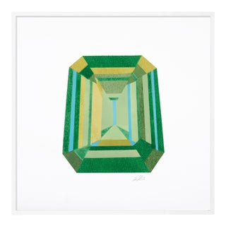 Emerald Cut by Rankin Willard in White Framed Paper, Small Art Print For Sale