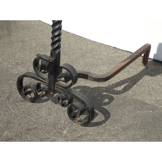 Vintage Black Wrought Iron Spanish Style Andirons W Decorative Cross Bar For Sale In Los Angeles - Image 6 of 12