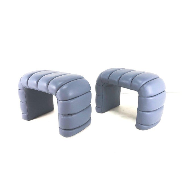 Channelled Leather Waterfall Benches - a Pair For Sale - Image 9 of 9