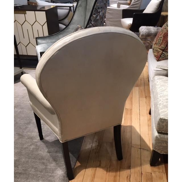 Leathercraft Leathercraft Ivory Leather Ophelia Side Chair For Sale - Image 4 of 7