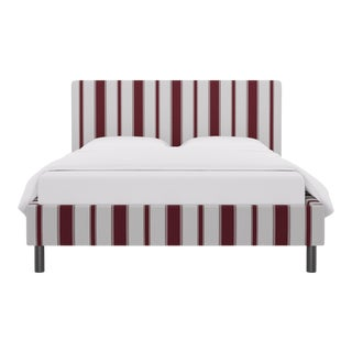Queen Tailored Platform Bed in Port Clarence Stripe For Sale
