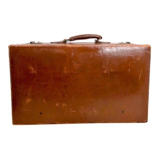 Vintage Hard Leather Suitcase With Hotel Labels For Sale