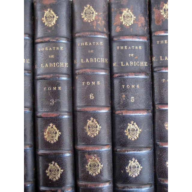 Metal Late 19th Century French Leather Books - Set of 10 For Sale - Image 7 of 12