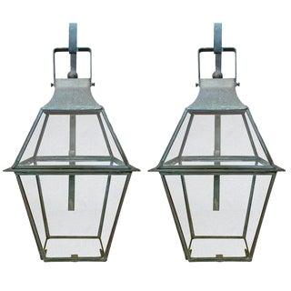 American Bronze Lantern Sconces - a Pair For Sale