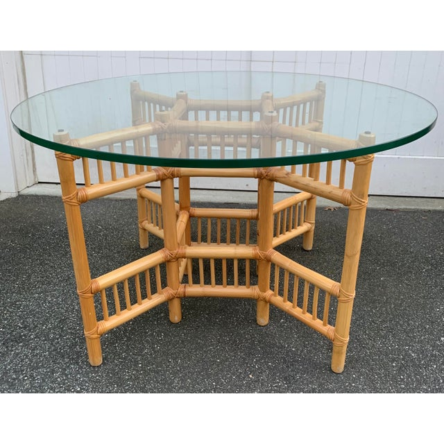 Willow and Reed Bamboo and Glass Round Dining Table For Sale - Image 11 of 11