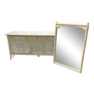 Vintage Thomasville Allegro Faux Bamboo 9 Drawer Dresser + Mirror - 2 Pieces For Sale