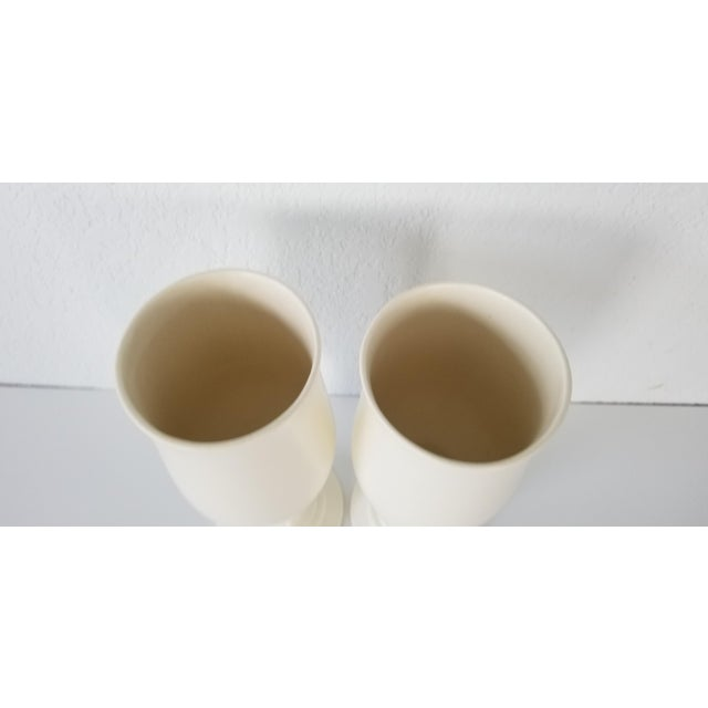 Hollywood Regency Vintage Royal Haeger Flat White Glazed Ceramic Vases - a Pair For Sale - Image 3 of 7