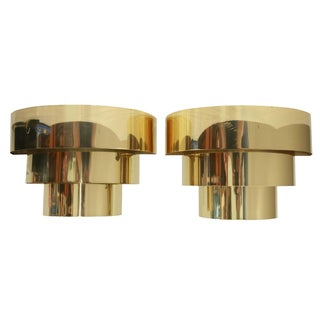 Vintage 1970s Art Deco Style Brass Sconces - A Pair For Sale