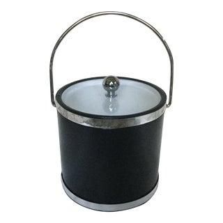 Black Vinyl and Chrome Kraftware Black Ice Bucket For Sale