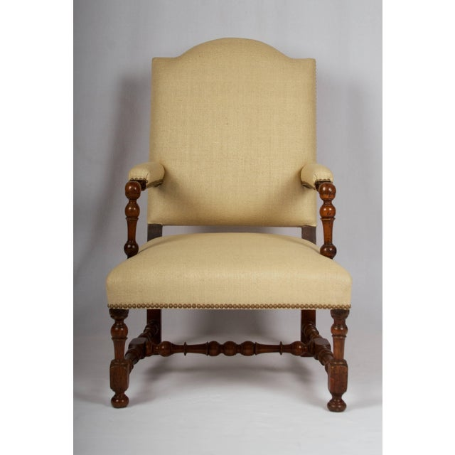 17th Century Louis XIII Armchair, Restored and Newly Upholstered For Sale - Image 4 of 11