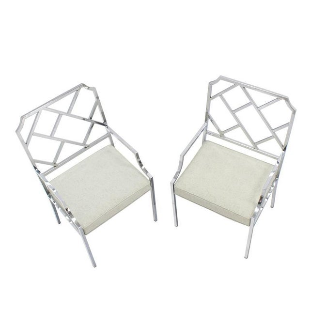 Mid-Century Modern New Upholstery Pair of Chrome Wide Ladder Back Chrome Chairs For Sale - Image 3 of 8