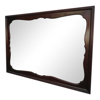 Solid Mahogany Carved Wall Bathroom Vanity Mirror by White For Sale